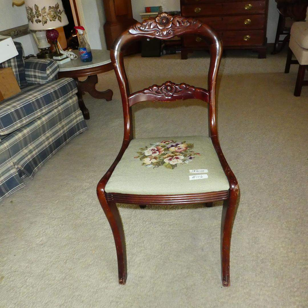 Lot # 116 - Vintage Tell City Carved Rose Balloon Back Needlepoint Chair (main image)
