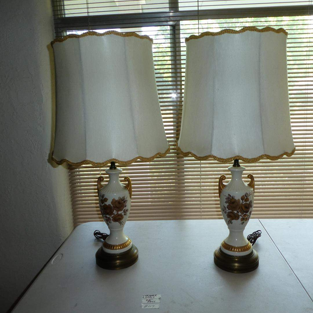 Lot # 117 - Vintage Pair Signed Hand Painted Ceramic & Brass Table Lamps (main image)