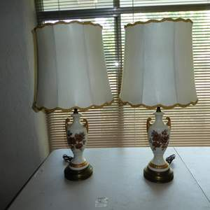 Lot # 117 - Vintage Pair Signed Hand Painted Ceramic & Brass Table Lamps