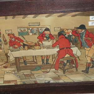 """Lot # 121 - Vintage Primitive Framed """"The Fallowfield Hunt, Breakfast At The Three Pigeons Gouttelette"""" by Cecil Aldin"""