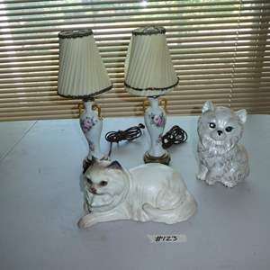 Lot # 123 - Vintage Pair Hand Painted Dresser Lamps, Cat & Dog Figurines
