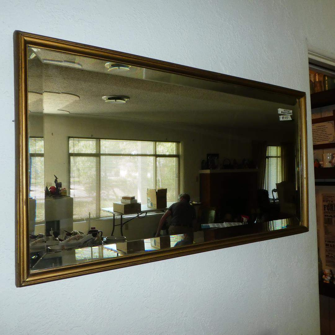 Lot # 127 - Vintage Beveled Glass Wood Framed Wall Mirror (main image)