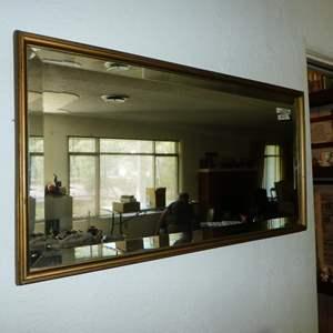 Lot # 127 - Vintage Beveled Glass Wood Framed Wall Mirror