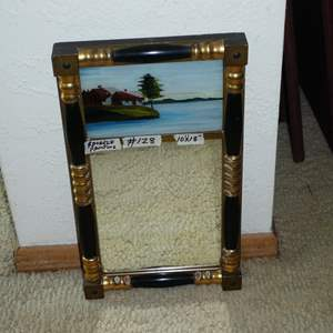 Lot # 128 - Framed Antique Reverse Painted Mirror