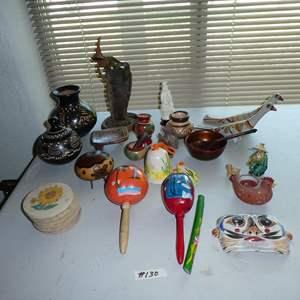 Lot # 130 - Hawaii Nativity Scene Gourd, Lidded Jar, Vase, Chinese Mudman Figurine & More