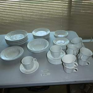 Lot # 134 - Vintage Royal Crownford Ironstone England White Wheat Dishes - 54 Pieces