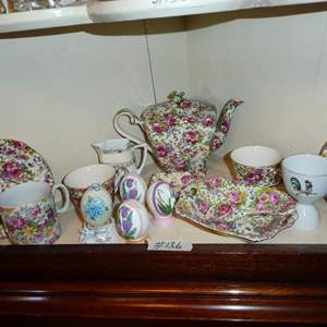 "Lot # 136 - ""Summertime"" Royal Winton Tea Set, Nippon Creamer & Painted Ceramic Eggs"