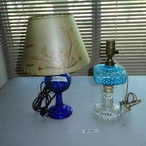 Lot # 141 - Vintage Cobalt Blue & Aqua Blue Glass Dresser Lamps