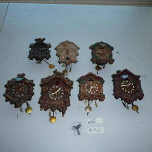 Lot # 142 - Seven Vintage Small Cuckoo Clocks Collection
