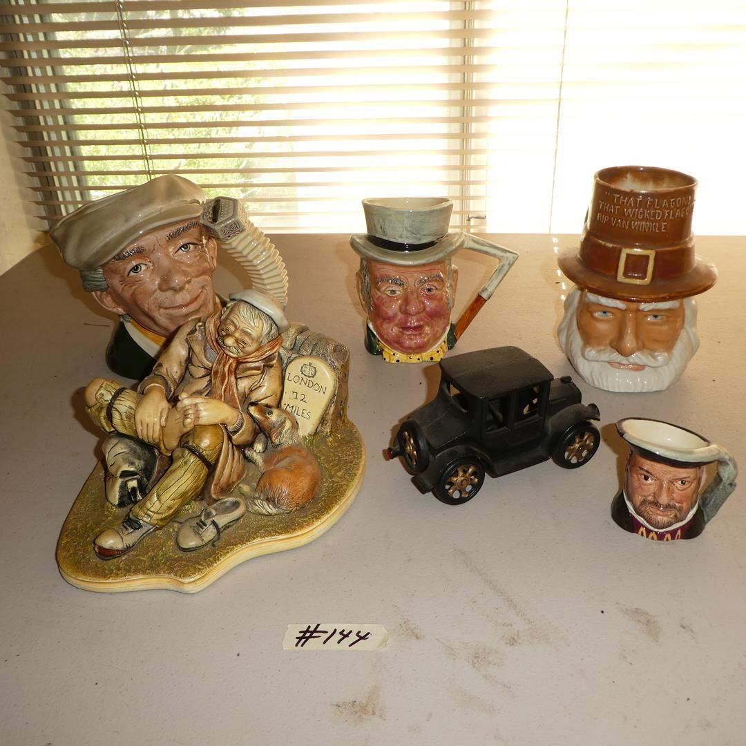 Lot # 144 - Travelers Rest Figurine (England), Royal Doulton The Busker Toby Mug Jug & Other Character Mugs (main image)