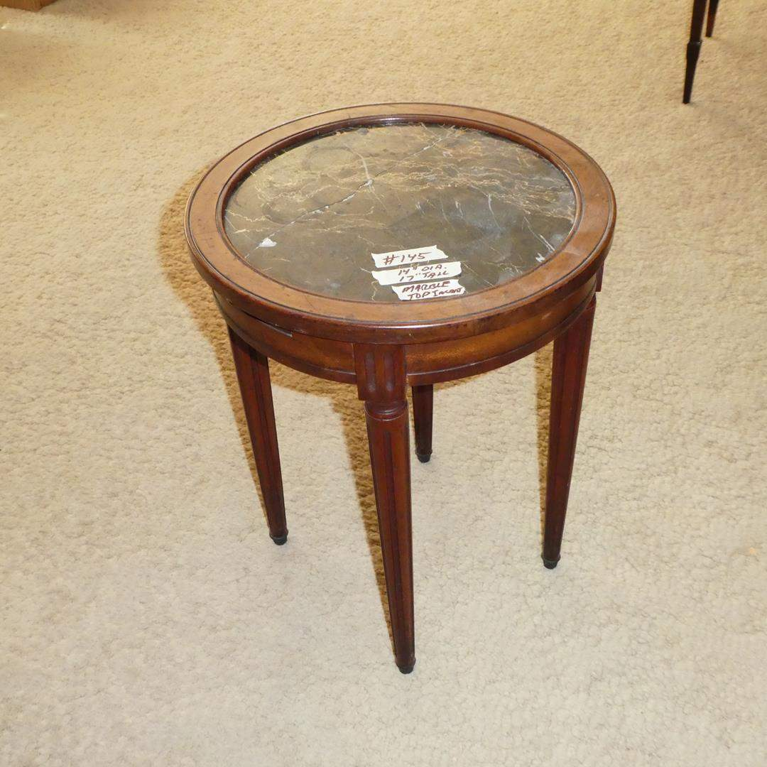 Lot # 145 - Small Antique Marble Top Accent Table  (main image)