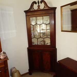 Lot # 148 - Antique 2-Piece Corner Display Cabinet w/Key
