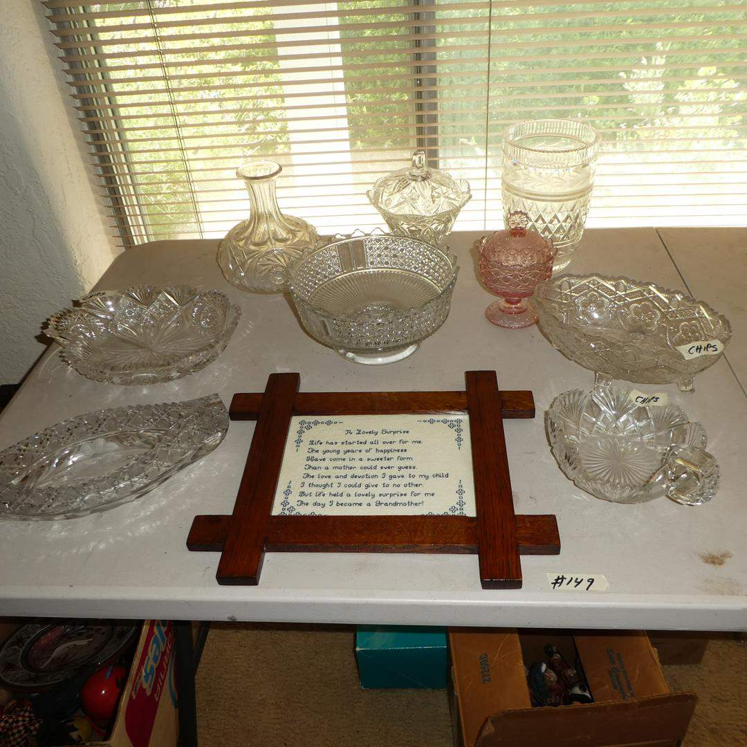 Lot # 149 - Vintage Crystal Serving Pieces & Vase (main image)