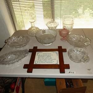 Lot # 149 - Vintage Crystal Serving Pieces & Vase