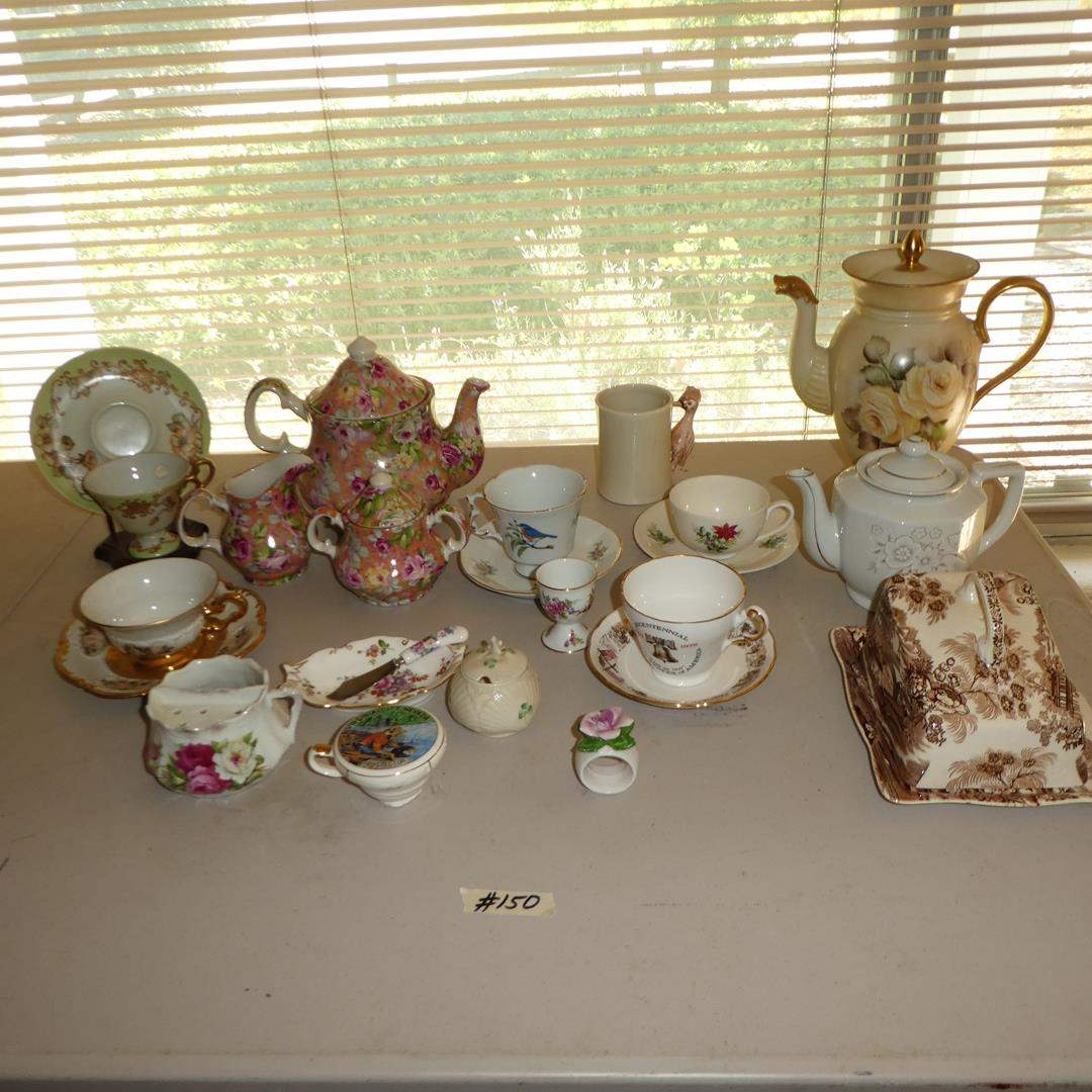 """Lot # 150 - Vintage """"Tonquin"""" Royal Staffordshire Cheese Dish, Limoges Teapot, Teacups & Fitz & Floyd """"Bird in Hand"""" Mug (main image)"""