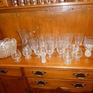Lot # 151 - Vintage Cut Glass Bowl, Pitcher & Bar Glasses
