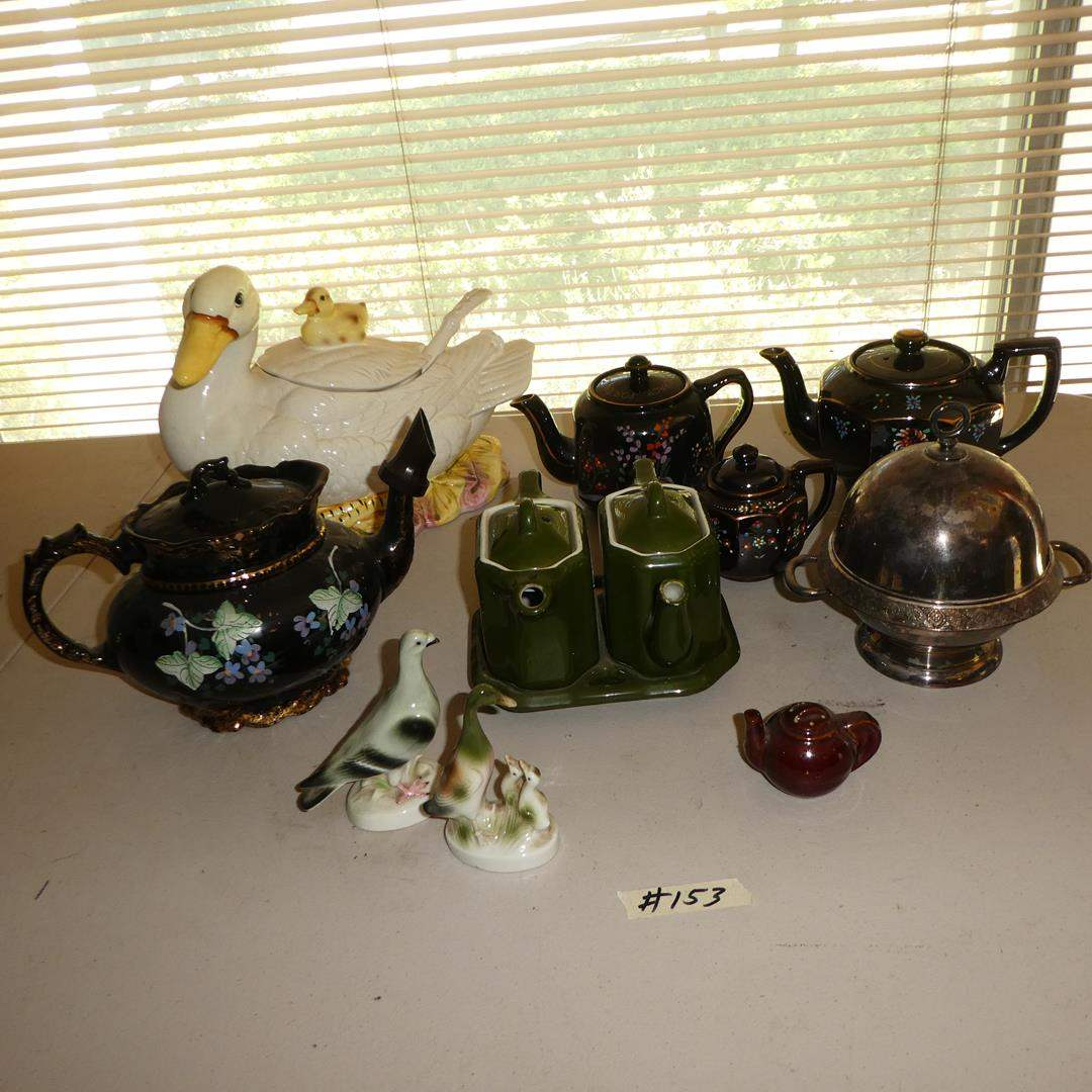 Lot # 153 - Vintage Germany Figurines, Teapots (One WWII) & Duck Soup Tureen w/Ladle (main image)