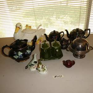 Lot # 153 - Vintage Germany Figurines, Teapots (One WWII) & Duck Soup Tureen w/Ladle