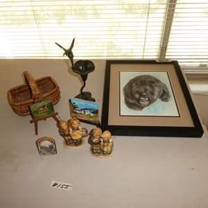 Lot # 155 - Vintage Goebel Figurines, Two Tiny Paintings & Framed Original Dog Drawing
