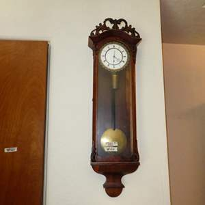 Lot # 159 - Vintage Weighted Pendulum Wall Clock - Tries To Run
