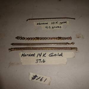 Lot # 161 - Three 14K Gold Ladies Bracelets & One 10K Gold Bracelet