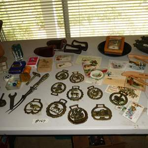 Lot # 164 - Vintage Playing Cards, Shaver, Casters, Horse Brasses, Cuckoo Clock Weights, Advertising Hangers & Stamps