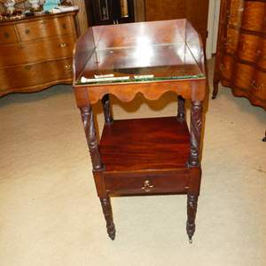 Lot # 165 - Antique Wooden Washstand on Casters with Dovetailed Drawer & Glass Top