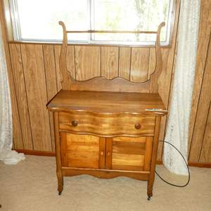 Lot # 168 - Antique Oak Serpentine Washstand w/Towel Bar & Claw Feet on Casters (Dovetailed Drawer)