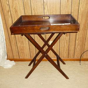 Lot #169 - Antique Butler's Tray Table Victorian Mahogany on Folding Stand