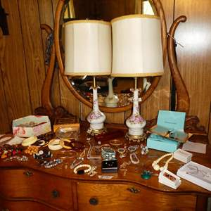 Lot # 171 - Really Nice Costume Jewelry (Some Handmade & Designer) & Vintage Pair Hand Painted Dresser Lamps