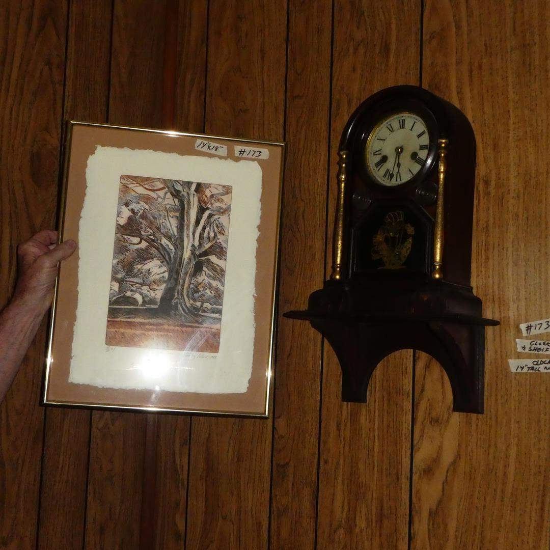 Lot # 173 - Framed Signed Limited Edition Print, Vintage Eight Day Mantle Clock & Small Wall Shelf  (main image)