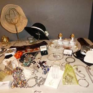 Lot # 175 - Ladies Costume Jewelry, Hats, Vintage Purses & L.B. Hicks Hand Painted Vanity Set