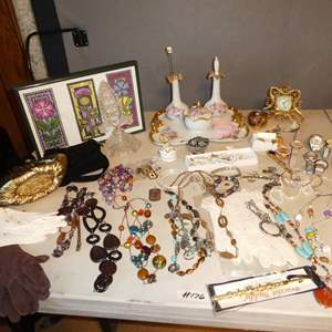 Lot # 176 - Framed Print, Costume Jewelry, Ladies Wristwatches & Hicks Hand Painted Vanity Set