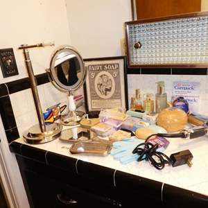 Lot # 178 - Magnifying Mirror, Vintage Shaver, Hand Crafted Soaps, Designer Scents & More