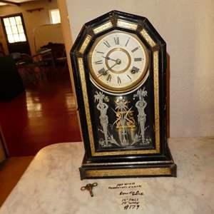 Lot # 179 - Antique Ansonia Clock Co. Pendulum Mantle Clock w/Key