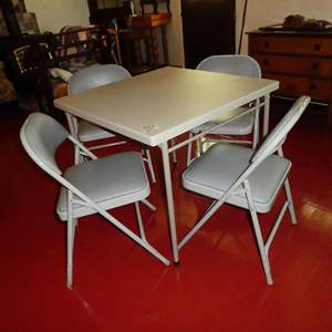 Lot # 181 - Folding Card Table & 4 Folding Chairs