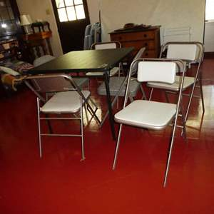Lot # 182 - Folding Card Table & 6 Folding Chairs (4 Chairs Match & 2 Chairs Match)
