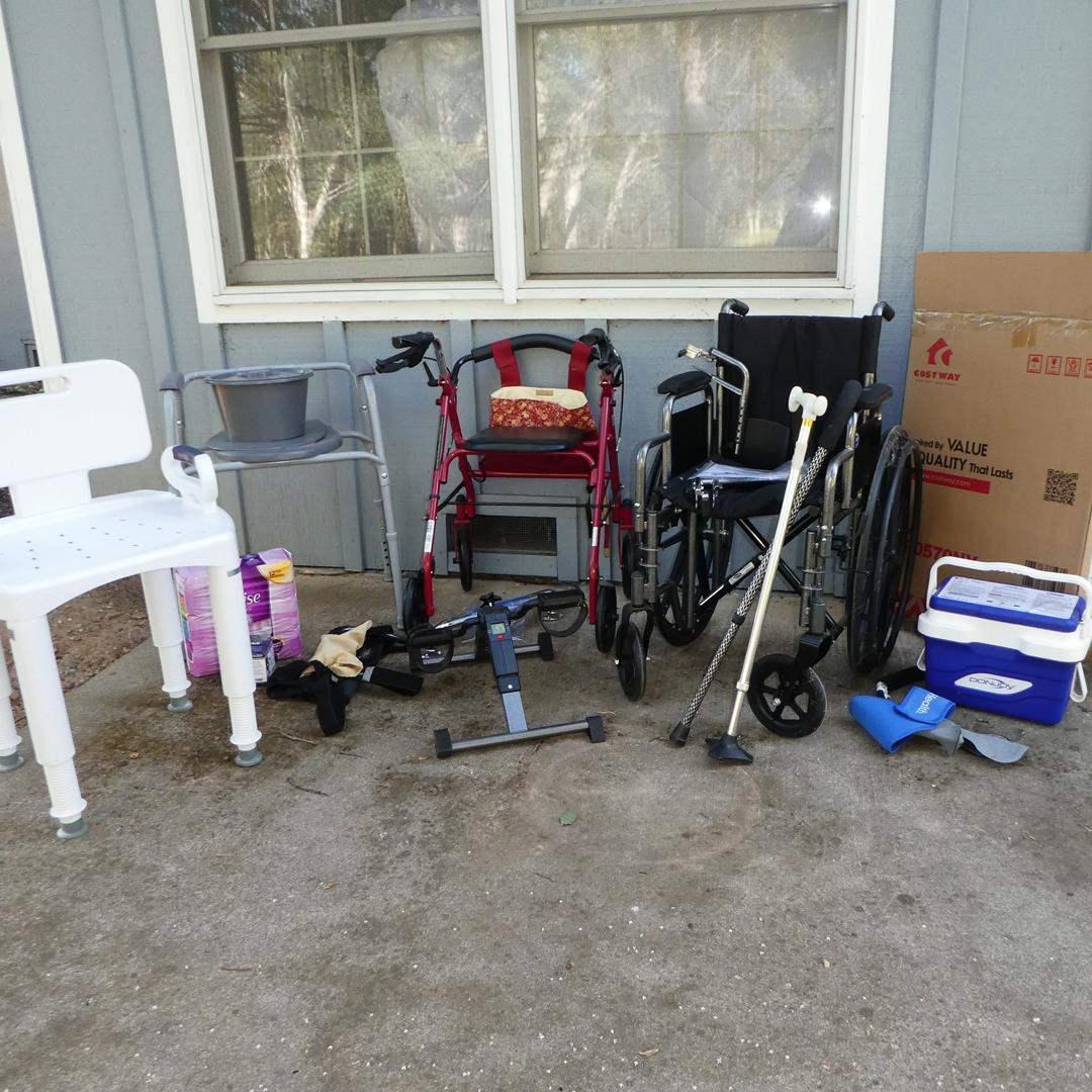 Lot # 183 - Home Health Care Supplies: Bath Seat, Wheelchairs & More (main image)