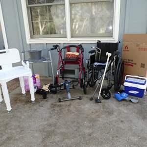 Lot # 183 - Home Health Care Supplies: Bath Seat, Wheelchairs & More