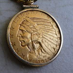 Lot # 184 - Antique 1915 Indian Head Eagle $5 Gold Coin In Bezel w/14K Yellow Gold Chain