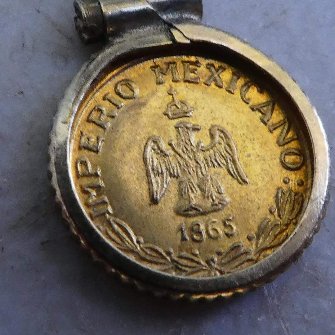 Lot # 186 - 1865 Imperio Mexicano Maximilian Small Gold Coin in Bezel, Ingot Pendant & 14K Yellow Gold Chain (main image)