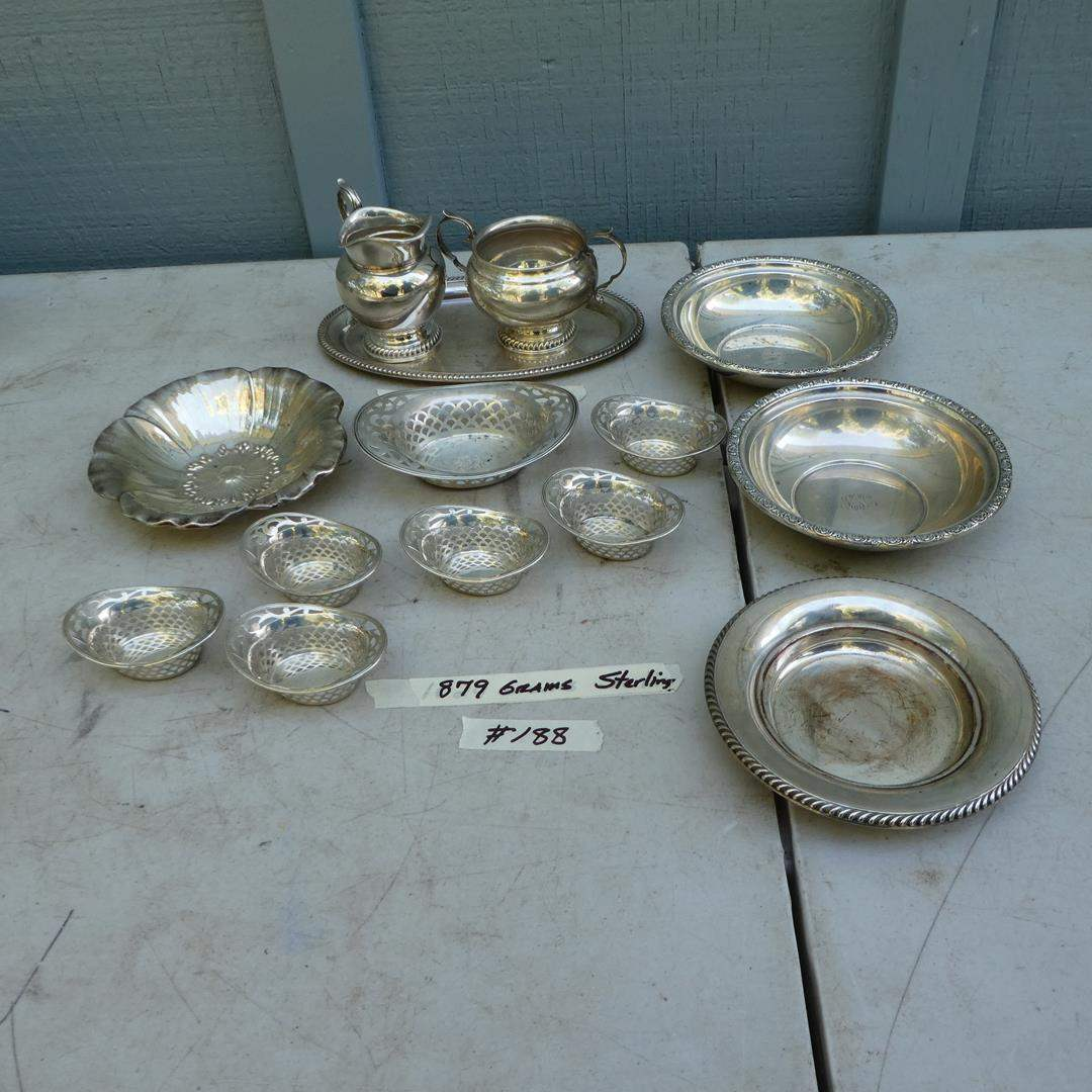 Lot # 188 - Vintage Sterling Silver Serving Pieces - 879 Grams (main image)