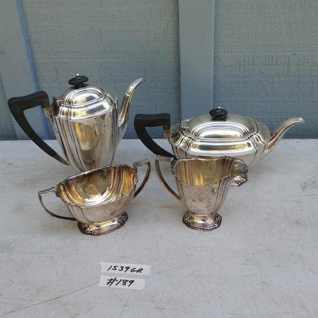 Lot # 189 - Vintage Sheffield England Sterling Silver Coffee Pot, Tea Pot, Creamer & Sugar 1539 Grams (main image)