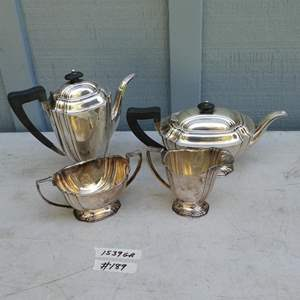 Lot # 189 - Vintage Sheffield England Sterling Silver Coffee Pot, Tea Pot, Creamer & Sugar 1539 Grams