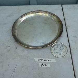 Lot # 190 - Large Sterling Silver Platter & Coaster 817 Grams