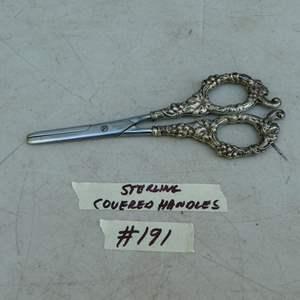 Lot # 191 - Vintage Wilco & Wagoner Co. Germany Sterling Silver Grape Pattern Scissors