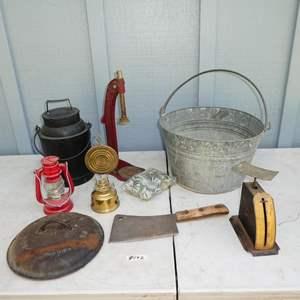 Lot # 192 - Vintage Griswold No. 8 Cast Iron Skillet Lid, Postal Scale, Bucket, Lanterns, Bottle Capper & Needlepoint Cushion