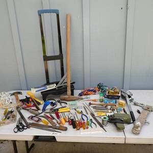 Lot # 195 - Hand Tools, Glue Gun, Bench Vise, Manual Winch, Sawhorses & More