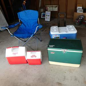 Lot # 198 - Camping Chair & Ice Chests
