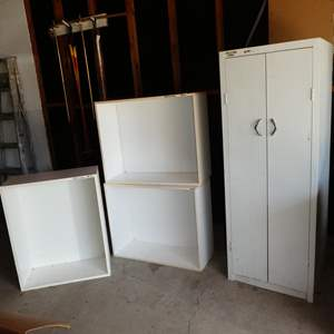 Lot # 199 - Stackable Storage Cubes & Metal Wardrobe Cabinet
